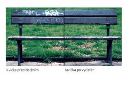 Vlhčené obrúsky Graffiti SafeWipes - lavička pred a po vyčistení