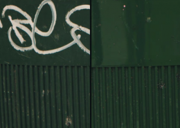 Vlhčené obrúsky Graffiti SafeWipes v akcii - kôš pred a po vyčistení