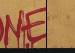 Vlhčené obrúsky Graffiti SafeWipes v akcii - pred a po čistení tagu